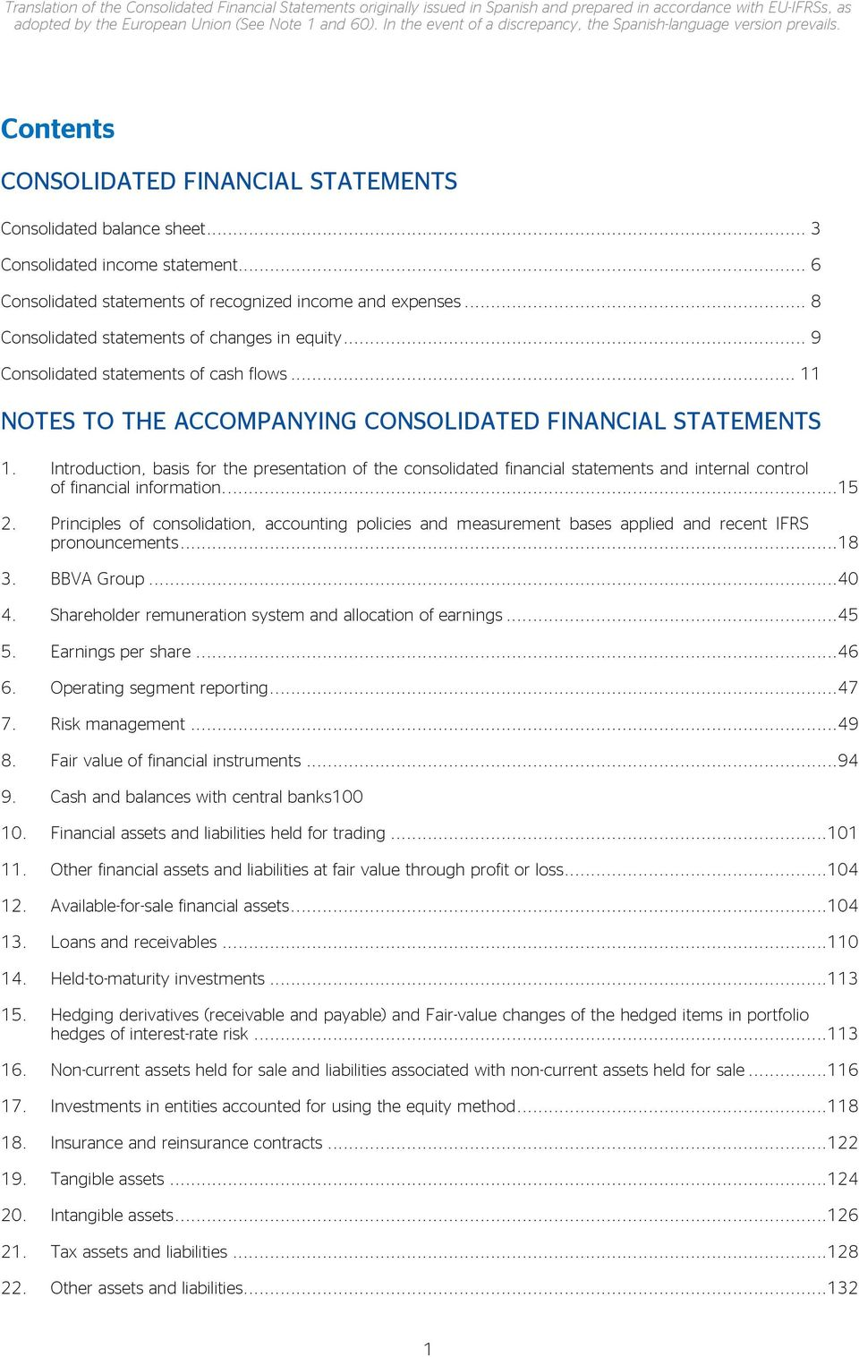 .. 6 Consolidated statements of recognized income and expenses... 8 Consolidated statements of changes in equity... 9 Consolidated statements of cash flows.