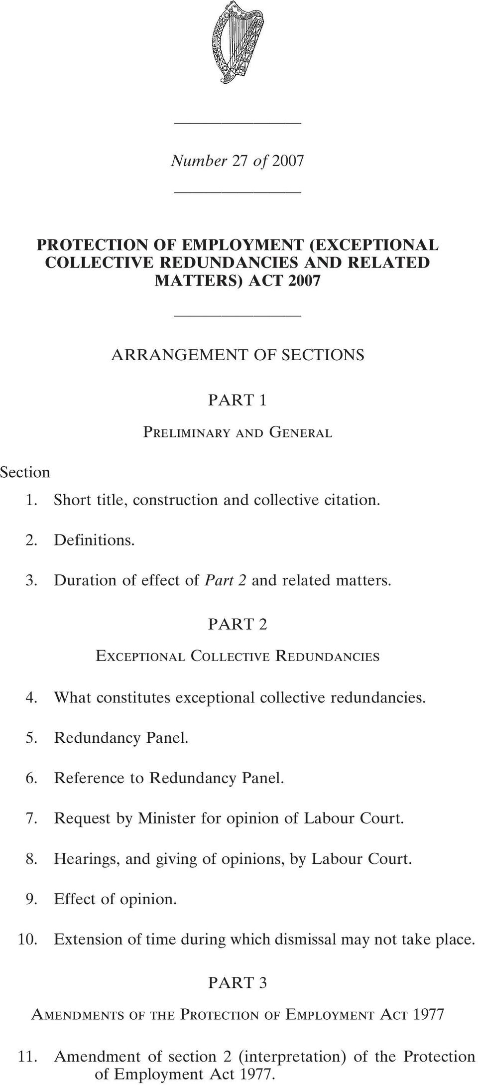 What constitutes exceptional collective redundancies. 5. Redundancy Panel. 6. Reference to Redundancy Panel. 7. Request by Minister for opinion of Labour Court. 8.