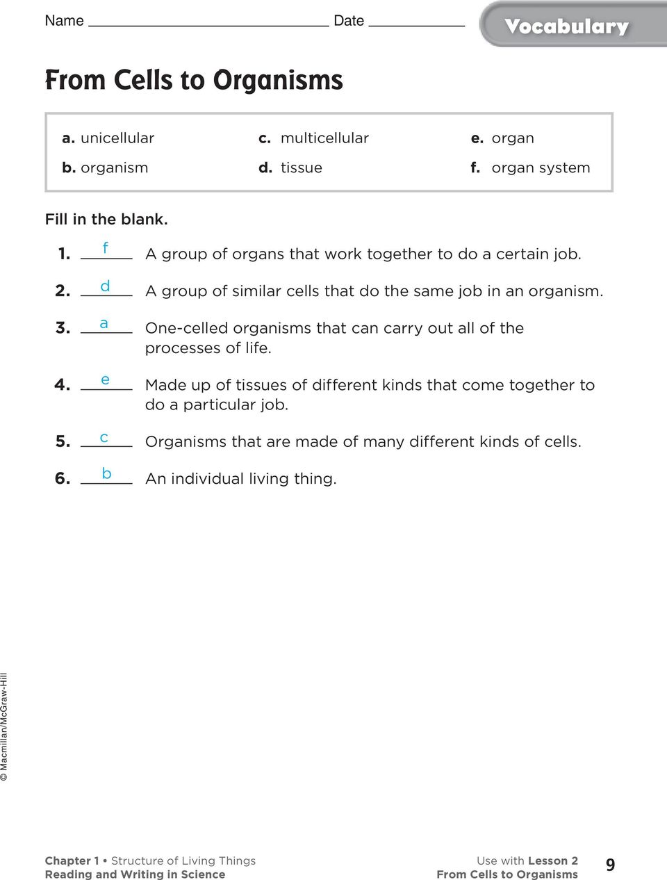 Chapter 1 Structure of Living Things    1 Chapter 2 Plant