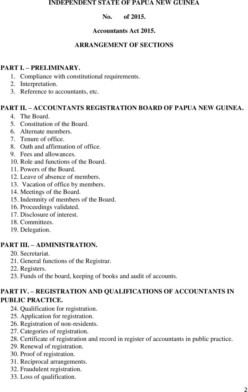 Oath and affirmation of office. 9. Fees and allowances. 10. Role and functions of the Board. 11. Powers of the Board. 12. Leave of absence of members. 13. Vacation of office by members. 14.