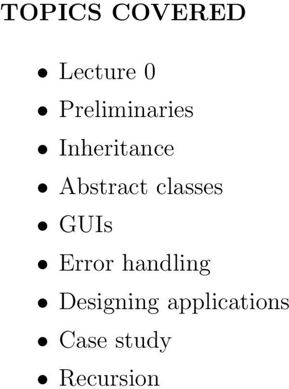 Abstract classes GUIs Error