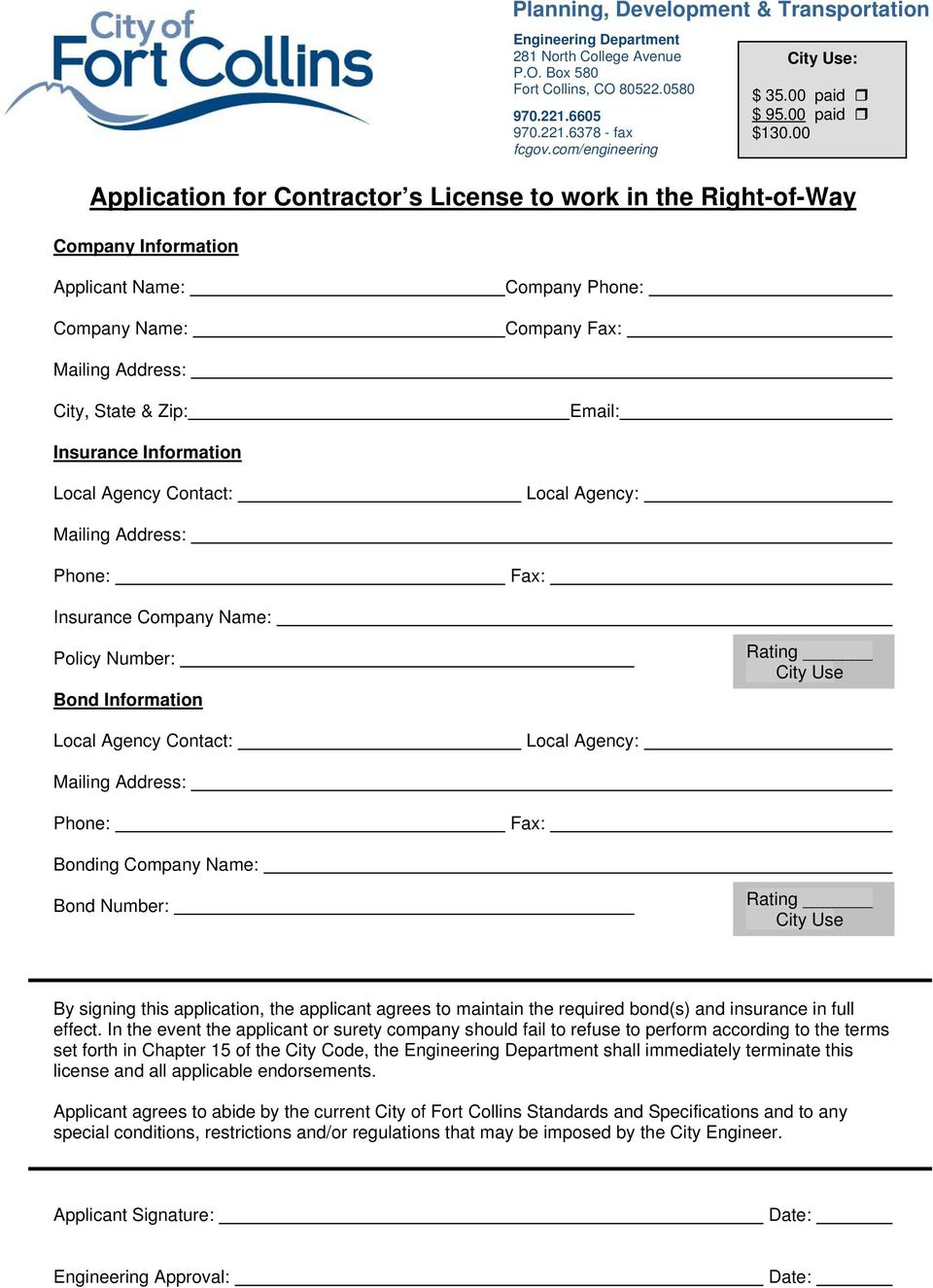 00 Applicant Name: Company Name: Company Phone: Company Fax: Mailing Address: City, State & Zip: Email: Insurance Information Local Agency Contact: Local Agency: Mailing Address: Phone: Fax: