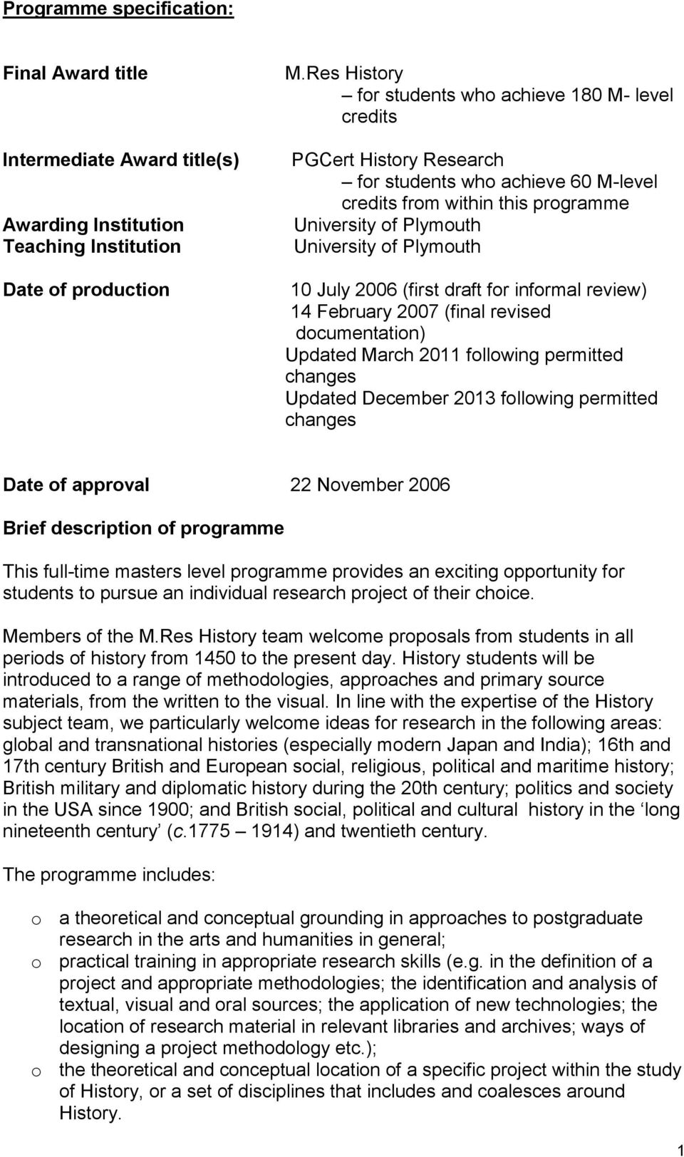 10 July 2006 (first draft for informal review) 14 February 2007 (final revised documentation) Updated March 2011 following permitted changes Updated December 2013 following permitted changes Date of