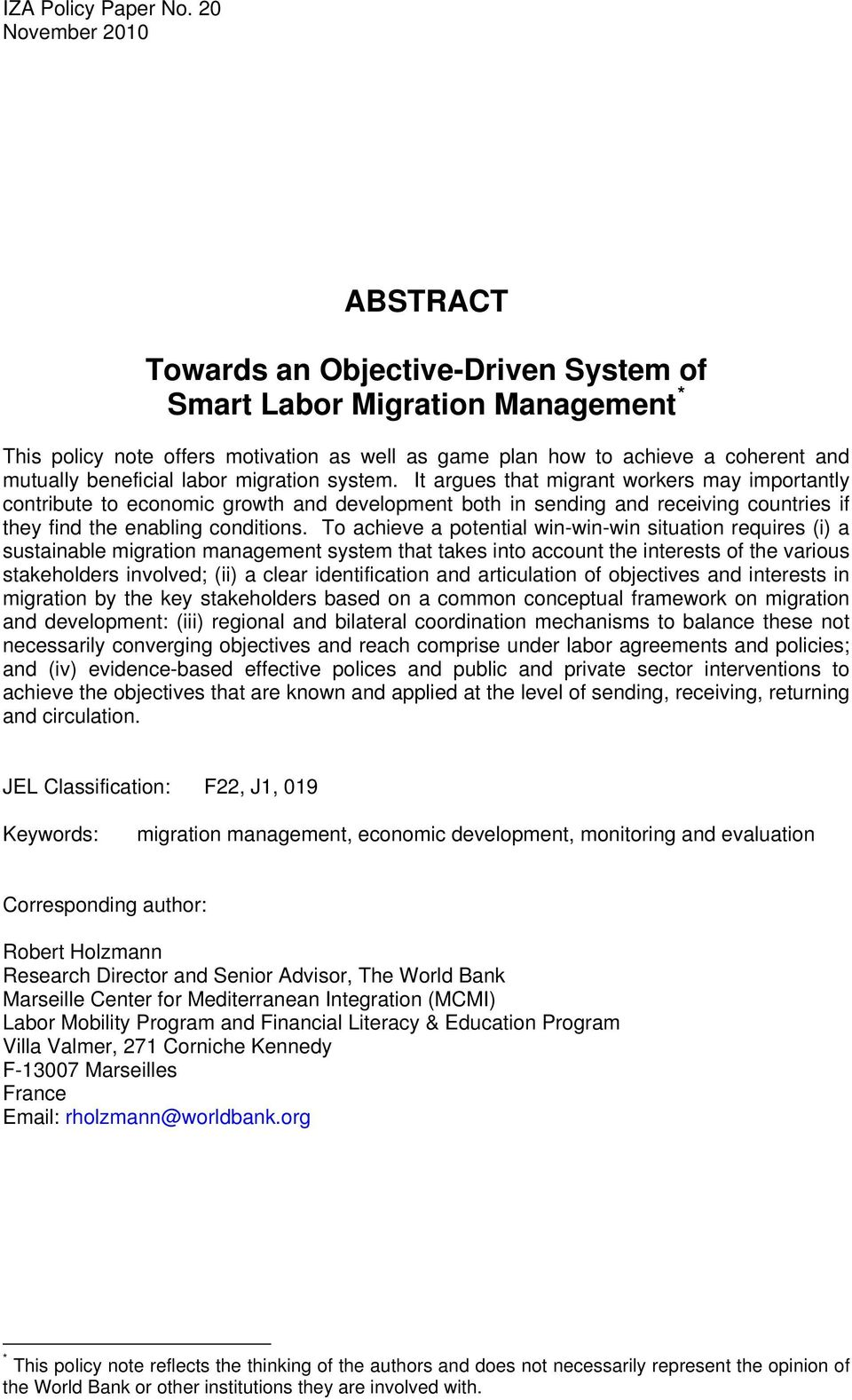 beneficial labor migration system.