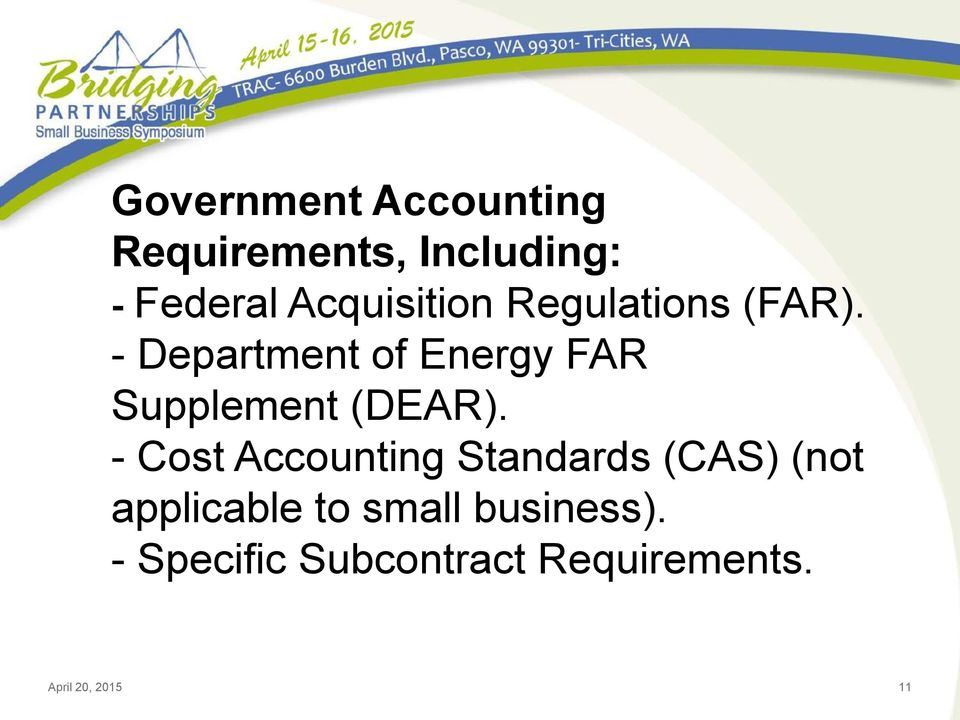 - Department of Energy FAR Supplement (DEAR).