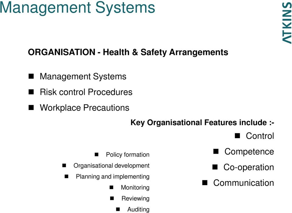 Organisational development Planning and implementing Monitoring Reviewing