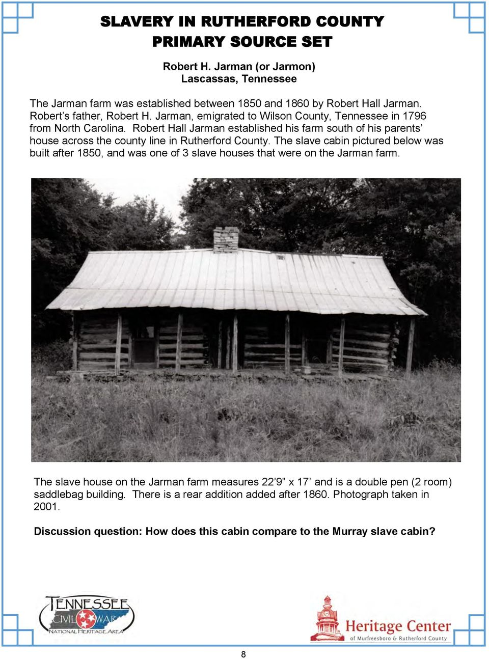 SLAVERY IN RUTHERFORD COUNTY PRIMARY SOURCE SET - PDF