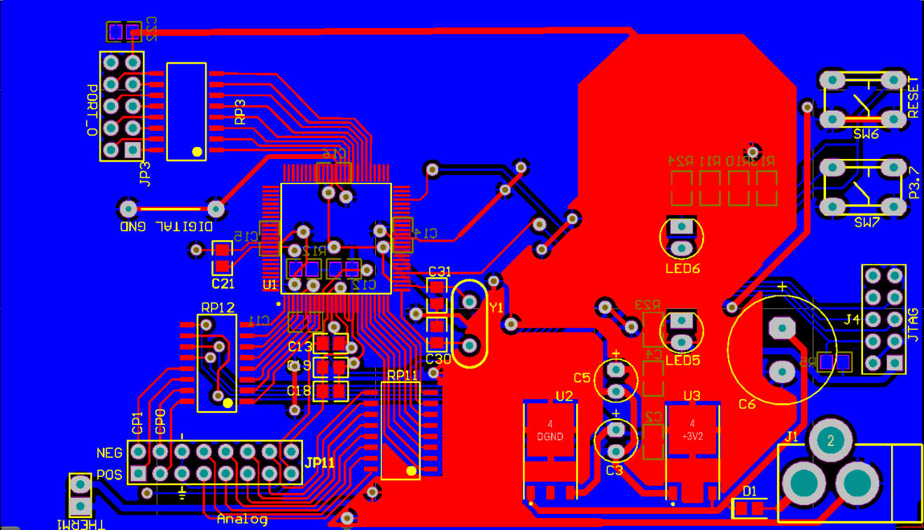 Massey University School Of Engineering And Advanced Technology Digital Binary Clock With Thermometer Hygrometer Electronicslab Appendix Vi Modified Pcb For The C8051f020 Microcontroller Figure 46 Top Layer