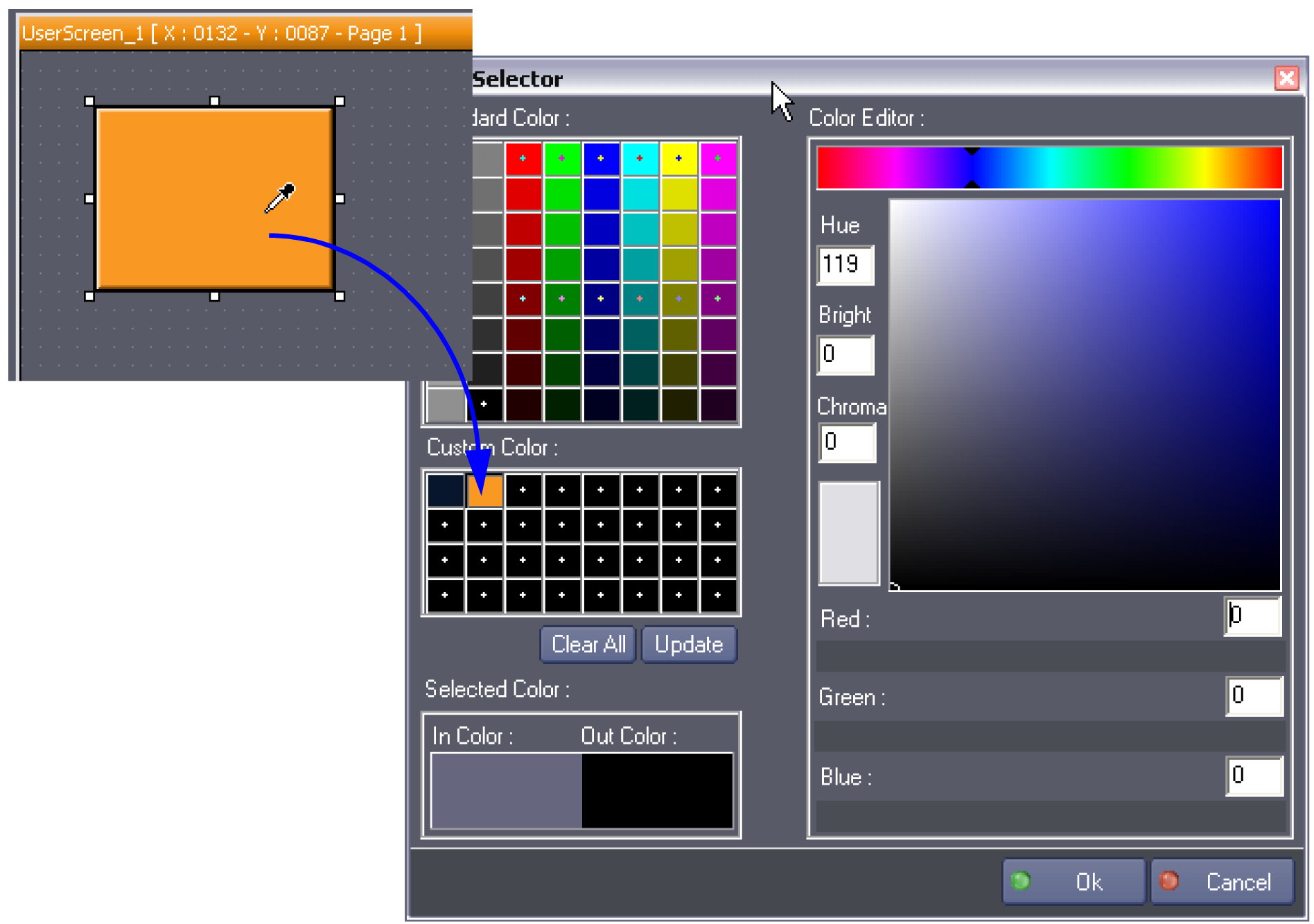 Define a new color in the Color Editor and save it as a Custom Color by