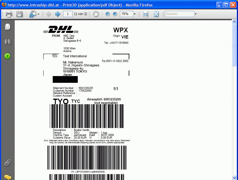 dhl intraship paperwork after you have clicked on print following window will be opened