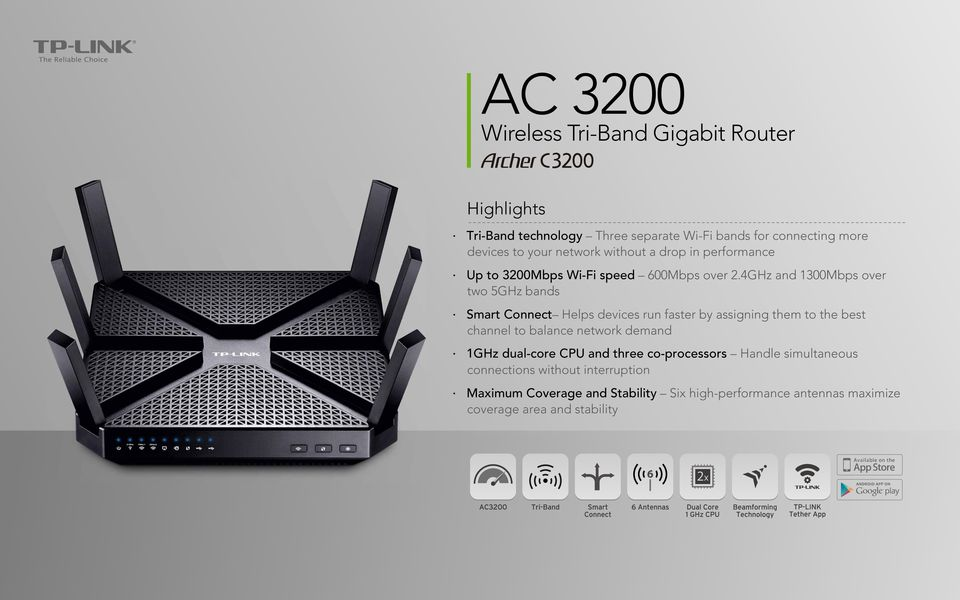 4GHz and 1300Mbps over two 5GHz bands Smart Connect Helps devices run faster by assigning them to the best channel to balance network