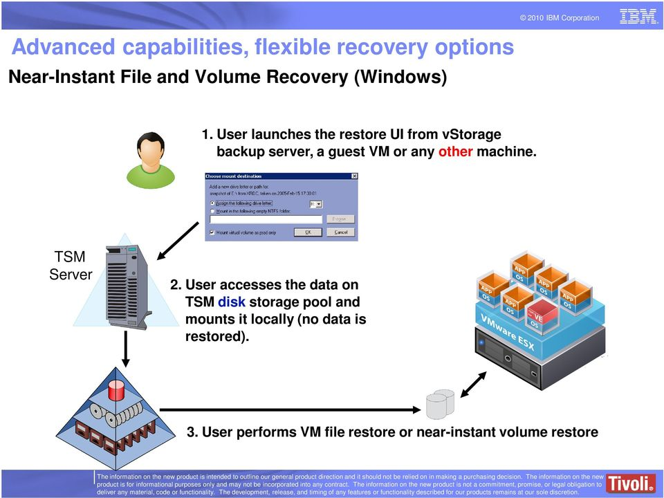 User launches the restore UI from vstorage backup server, a guest VM or any other