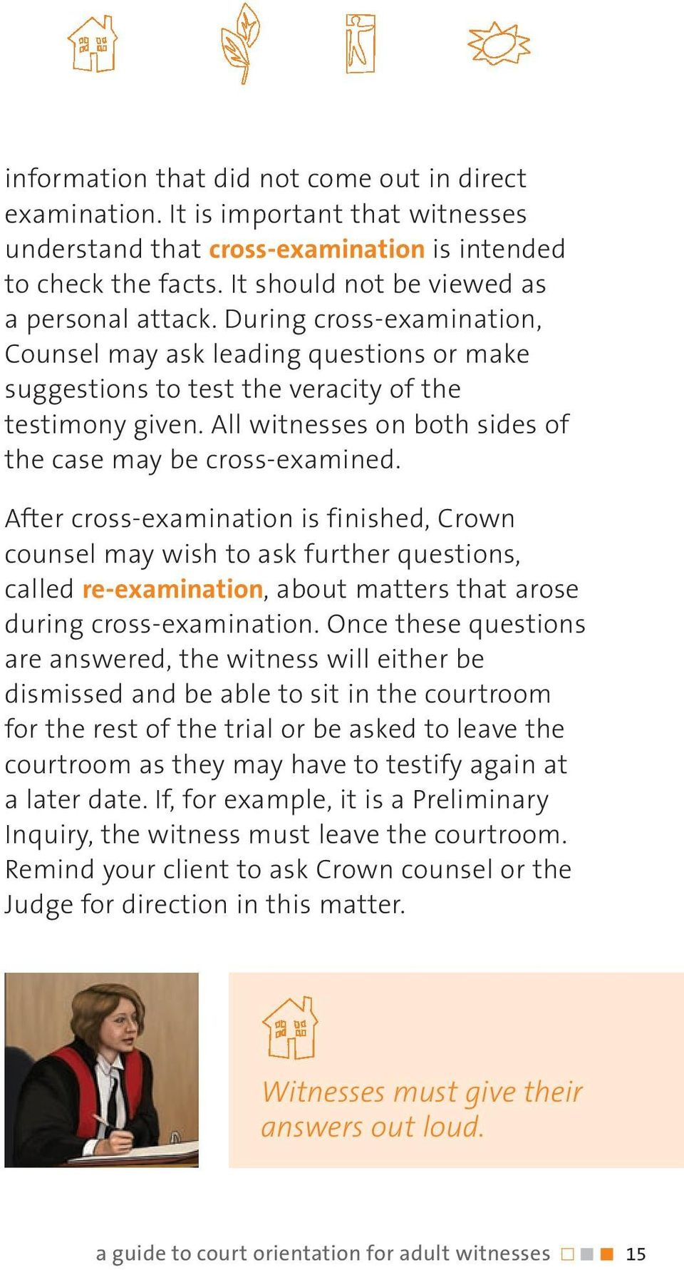 After cross-examination is finished, Crown counsel may wish to ask further questions, called re-examination, about matters that arose during cross-examination.