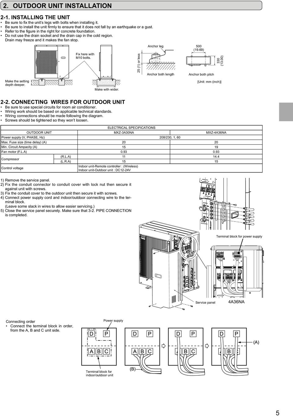 Split Type Air Conditioner Installation Manual Contents For Outdoor Ac Wiring Work Should Be Based On Applicable Technical Standards Connections Made Following