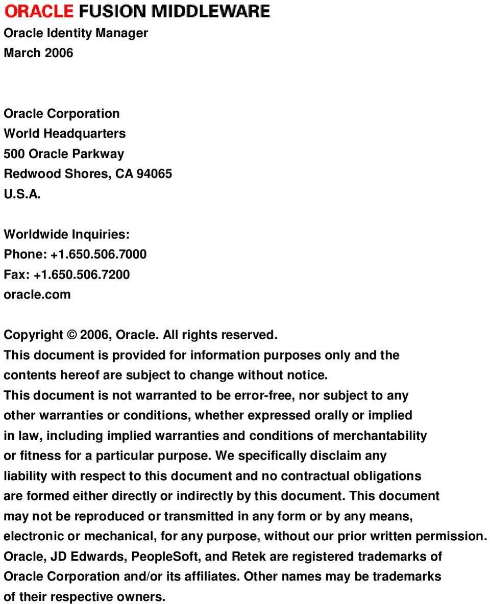 Oracle Identity Manager  An Oracle White Paper June PDF