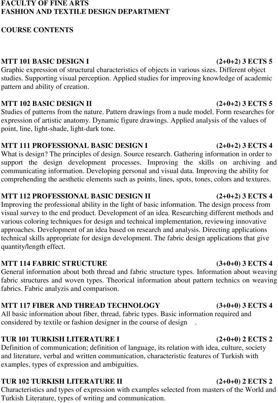 Faculty Of Fine Arts Fashion And Textile Design Department Course Contents Pdf Free Download