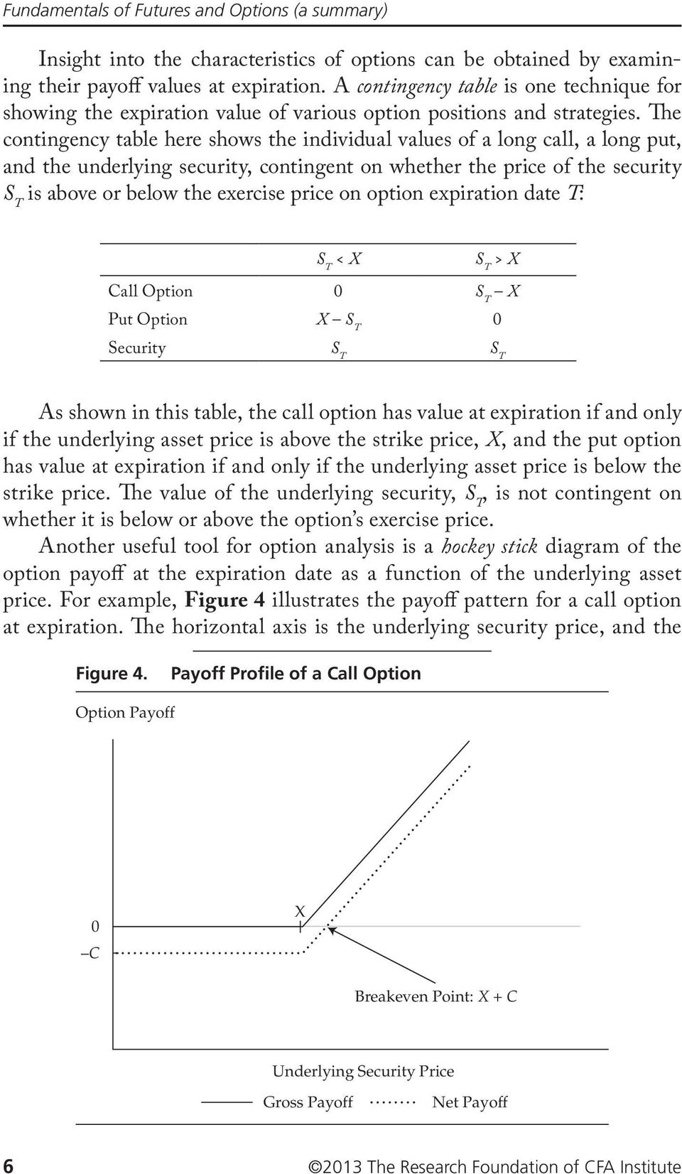 The contingency table here shows the individual values of a long call, a long put, and the underlying security, contingent on whether the price of the security S T is above or below the exercise