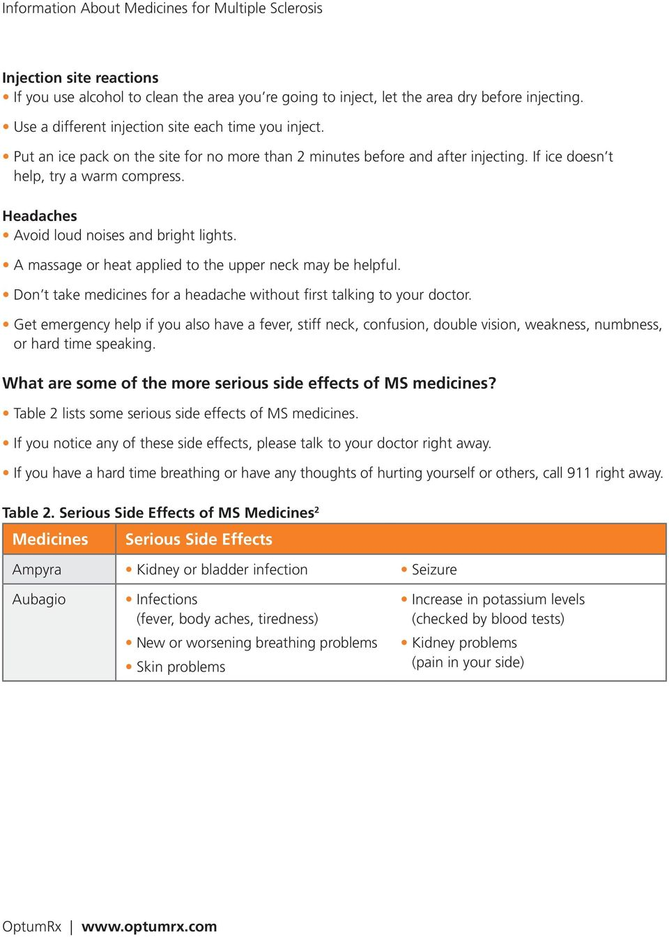 Information About Medicines for Multiple Sclerosis - PDF