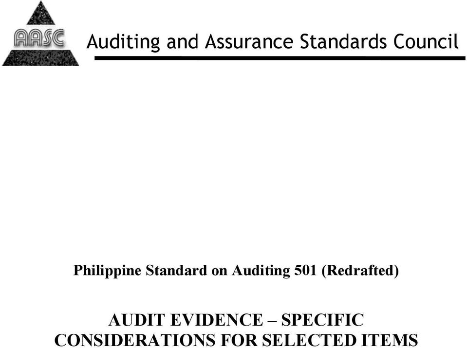 Auditing 501 (Redrafted) AUDIT