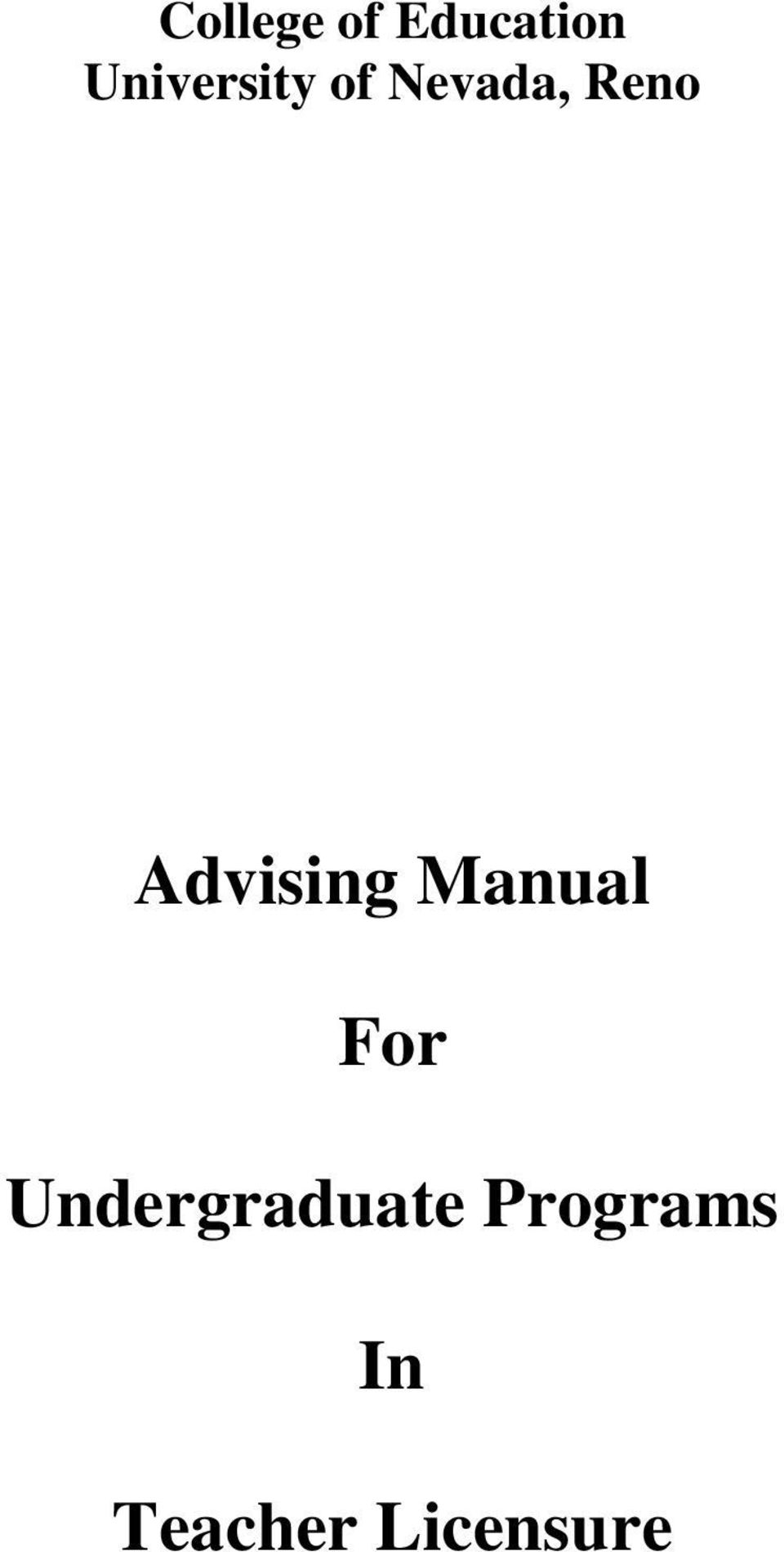 Advising Manual For