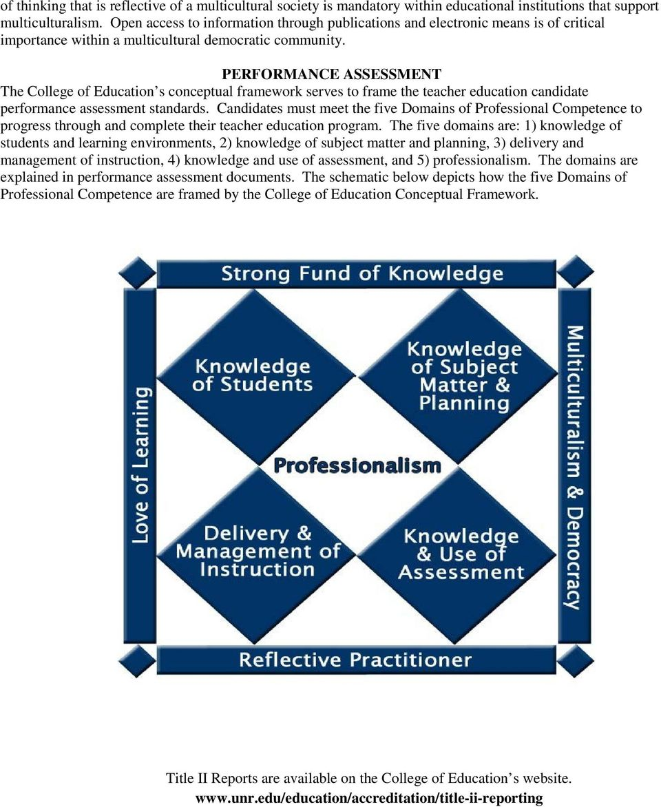 PERFORMANCE ASSESSMENT The College of Education s conceptual framework serves to frame the teacher education candidate performance assessment standards.