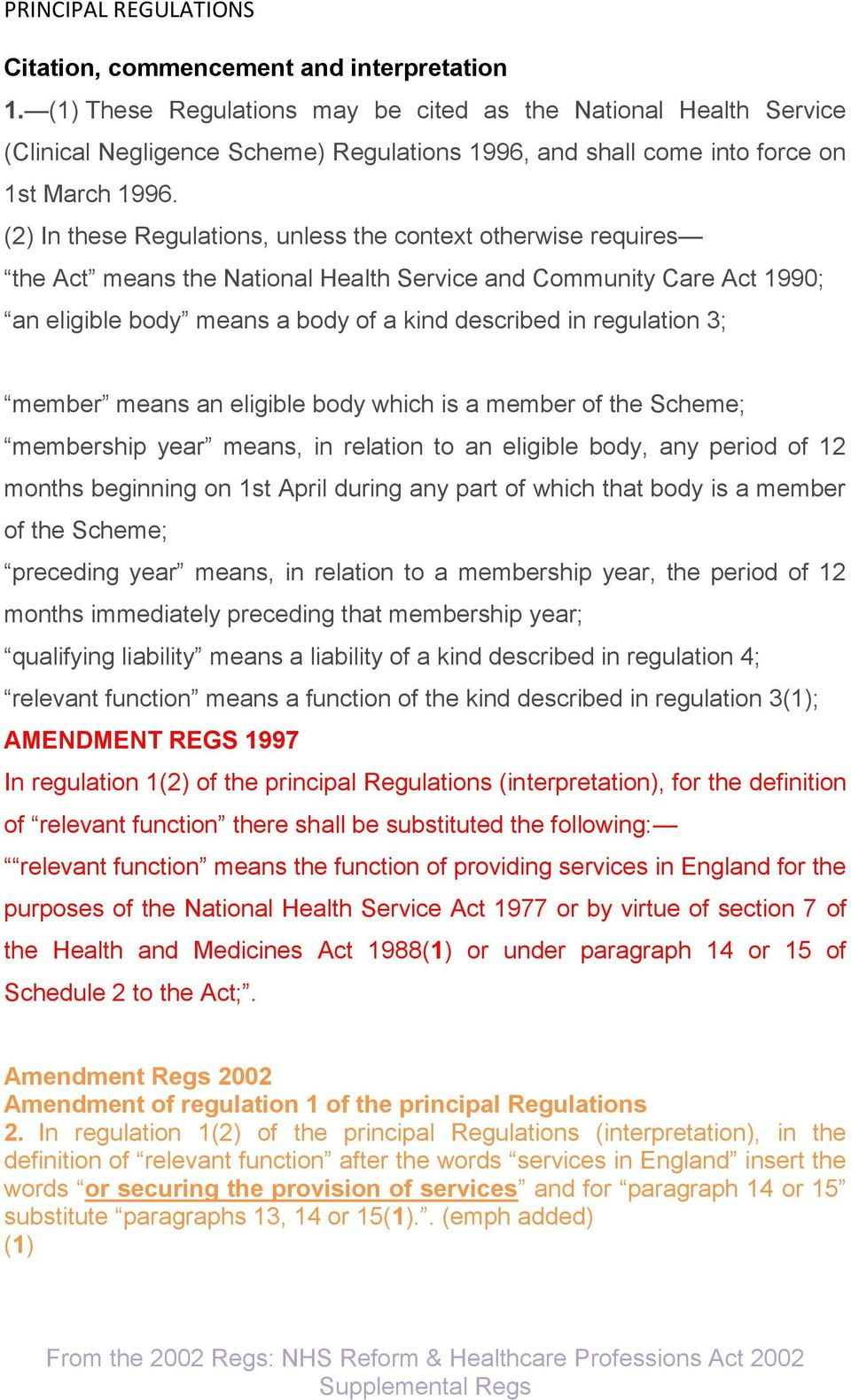 (2) In these Regulations, unless the context otherwise requires the Act means the National Health Service and Community Care Act 1990; an eligible body means a body of a kind described in regulation