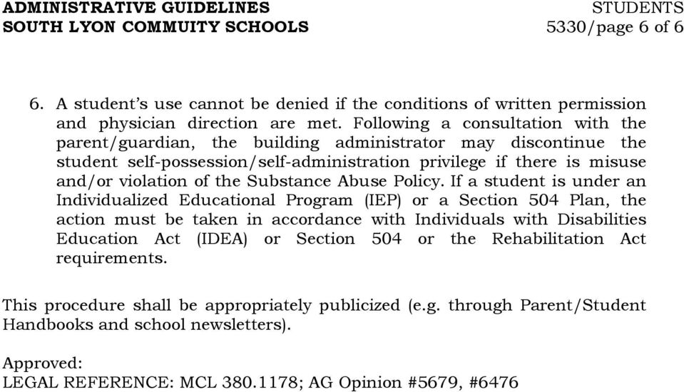 Substance Abuse Policy.