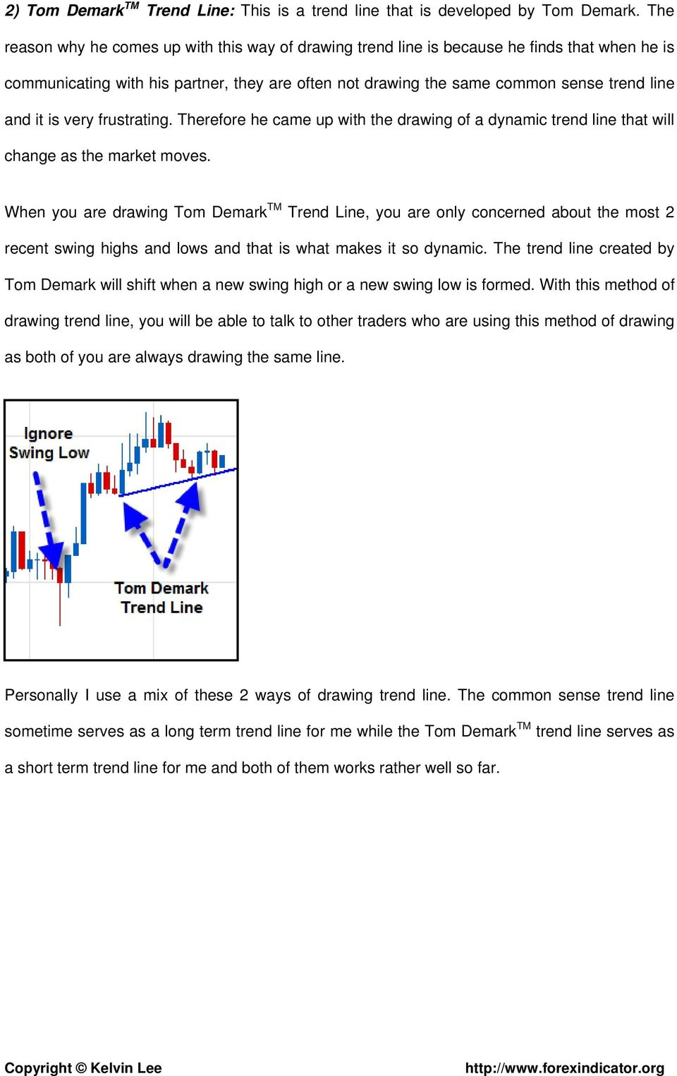 is very frustrating. Therefore he came up with the drawing of a dynamic trend line that will change as the market moves.