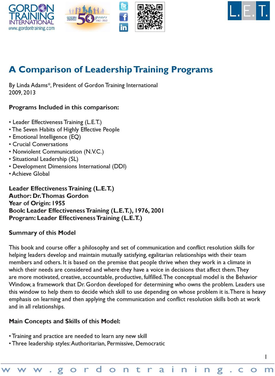 A Comparison of Leadership Training Programs - PDF