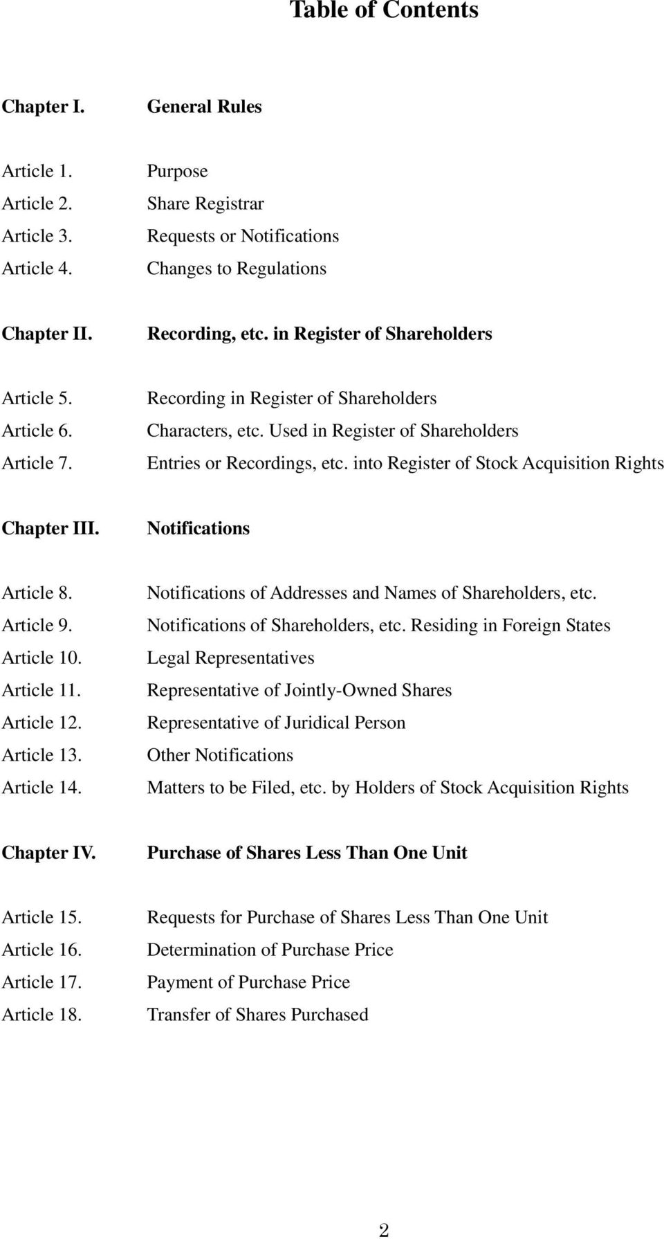 into Register of Stock Acquisition Rights Chapter III. Notifications Article 8. Article 9. Article 10. Article 11. Article 12. Article 13. Article 14.