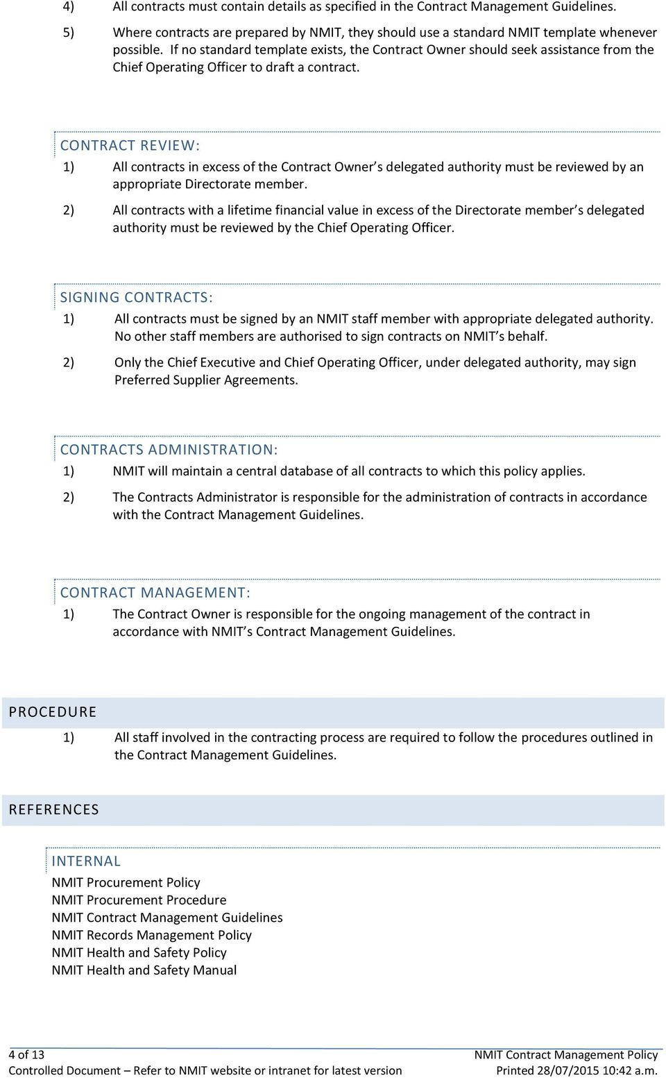 Contract Management Policy Pdf Free Download