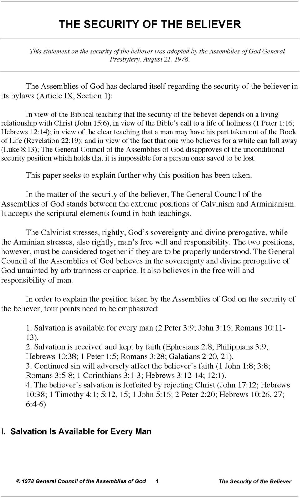 THE SECURITY OF THE BELIEVER - PDF
