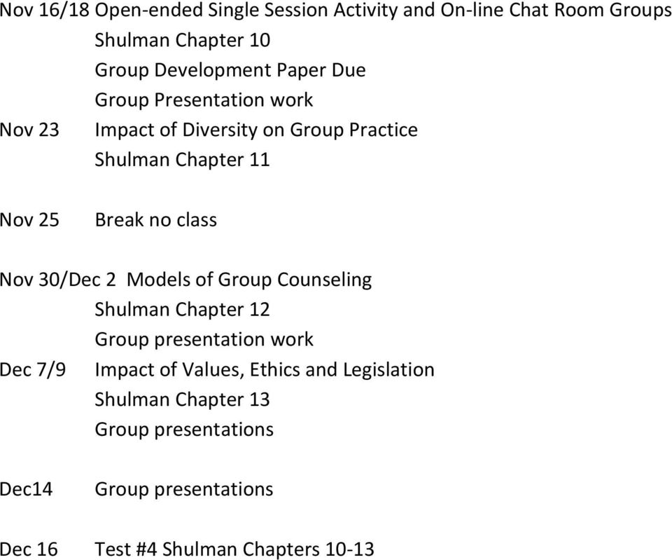 Nov 30/Dec 2 Models of Group Counseling Shulman Chapter 12 Group presentation work Dec 7/9 Impact of Values, Ethics