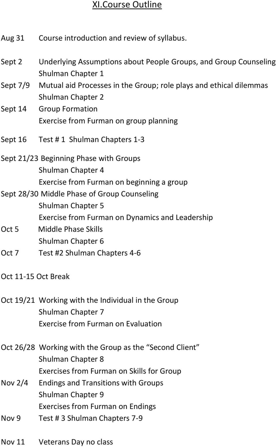 Furman on group planning Sept 16 Test # 1 Shulman Chapters 1-3 Sept 21/23 Beginning Phase with Groups Shulman Chapter 4 Exercise from Furman on beginning a group Sept 28/30 Middle Phase of Group