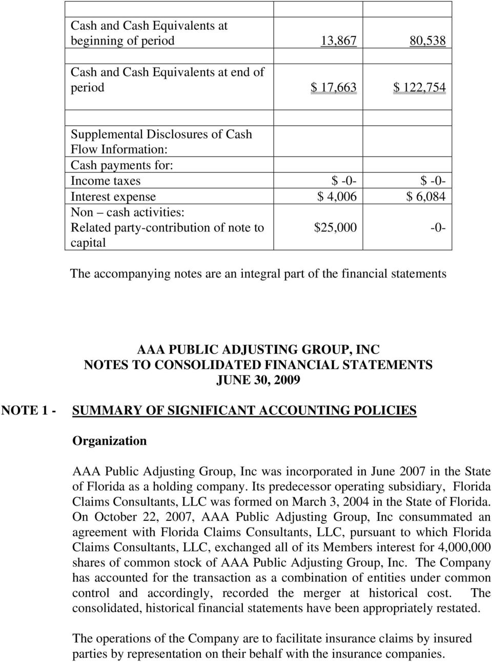 statements AAA PUBLIC ADJUSTING GROUP, INC NOTES TO CONSOLIDATED FINANCIAL STATEMENTS JUNE 30, 2009 NOTE 1 - SUMMARY OF SIGNIFICANT ACCOUNTING POLICIES Organization AAA Public Adjusting Group, Inc