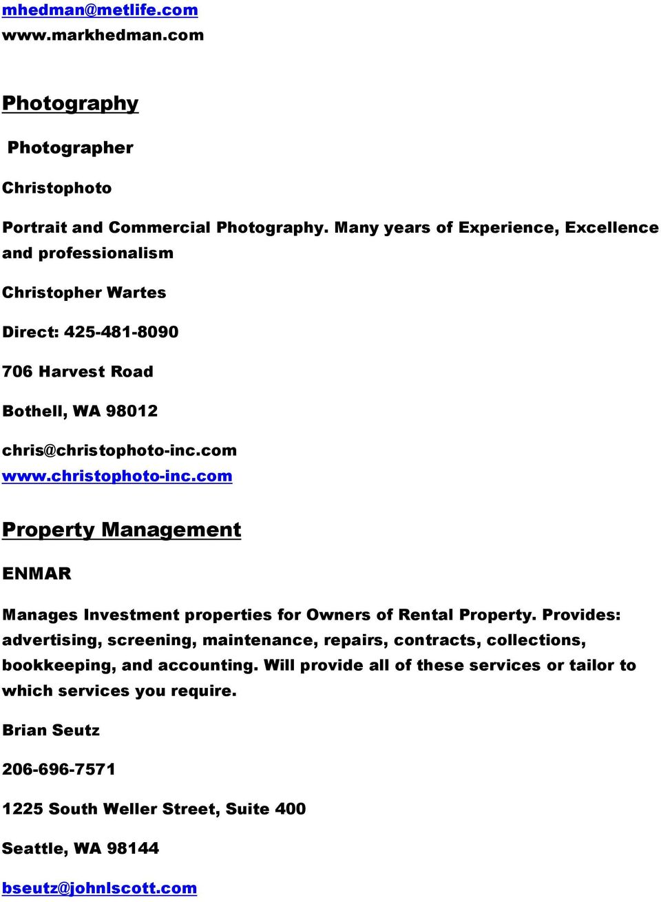 christophoto-inc.com Property Management ENMAR Manages Investment properties for Owners of Rental Property.