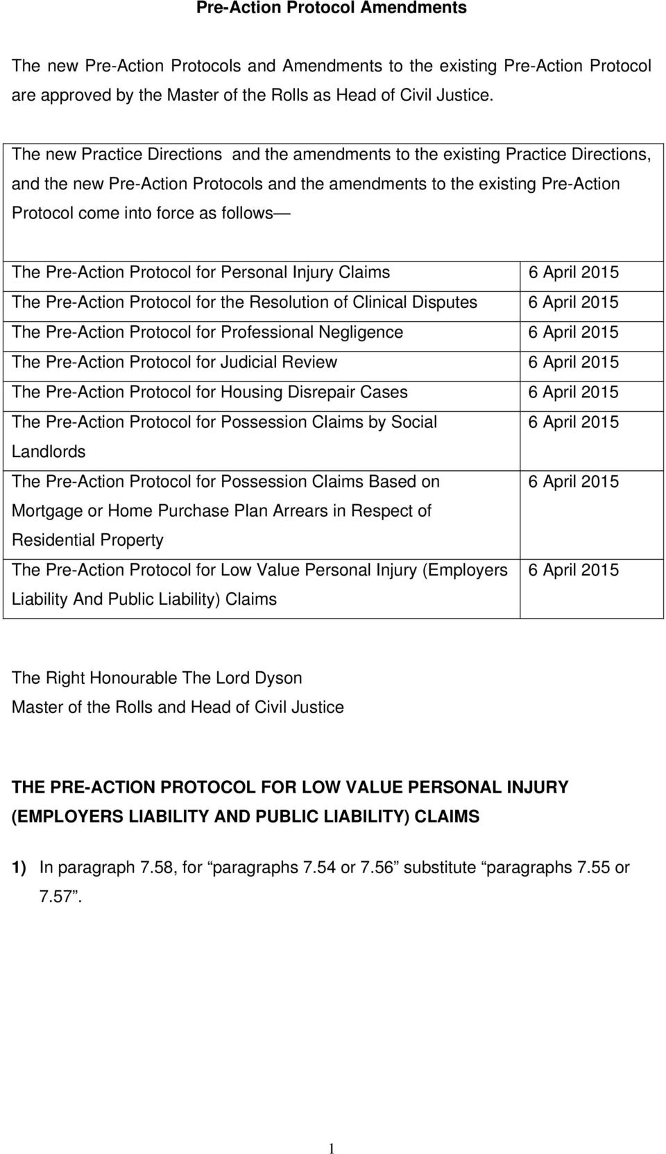 The Pre-Action Protocol for Personal Injury Claims 6 April 2015 The Pre-Action Protocol for the Resolution of Clinical Disputes 6 April 2015 The Pre-Action Protocol for Professional Negligence 6