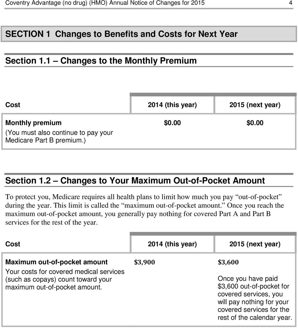 2 Changes to Your Maximum Out-of-Pocket Amount To protect you, Medicare requires all health plans to limit how much you pay out-of-pocket during the year.