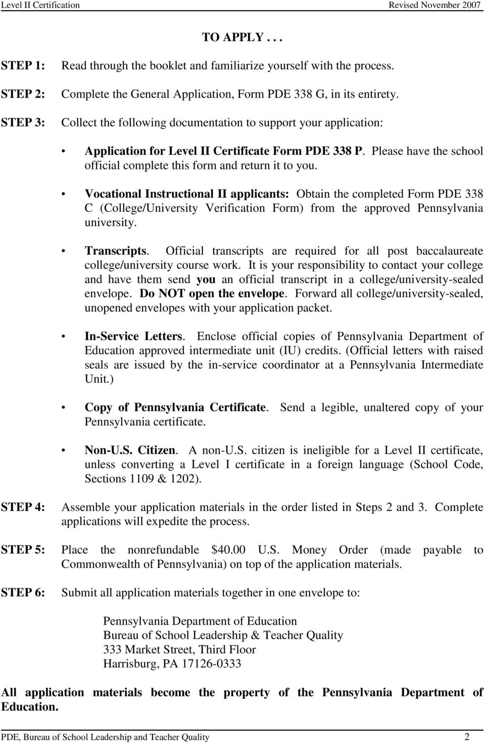 Requirements For Level Ii Pdf