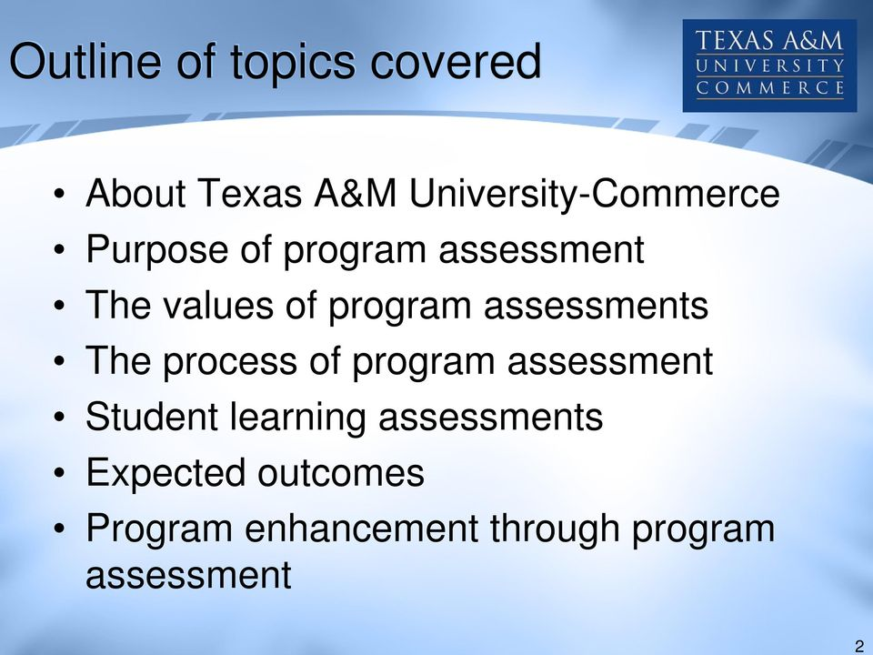 program assessments The process of program assessment Student learning