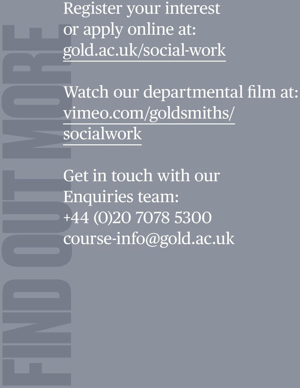 uk/social-work Watch our departmental film at: vimeo.