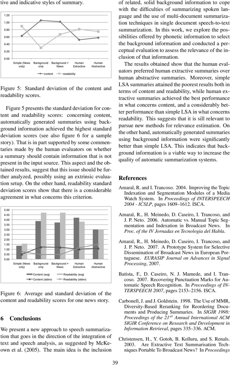 Figure 5 presents the standard deviation for content and readability scores: concerning content, automatically generated summaries using background information achieved the highest standard deviation