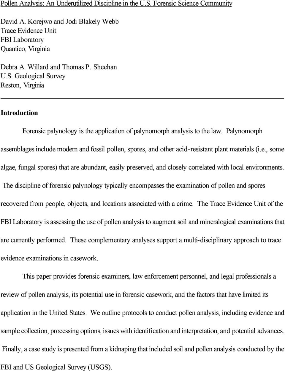 Pollen Analysis An Underutilized Discipline In The U S Forensic Science Community Pdf Free Download