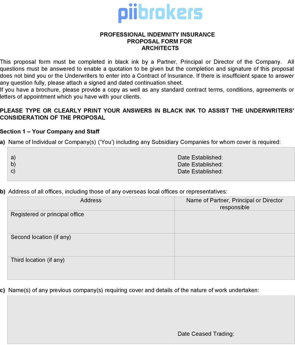 Professional Indemnity Insurance Proposal Form For Architects Pdf