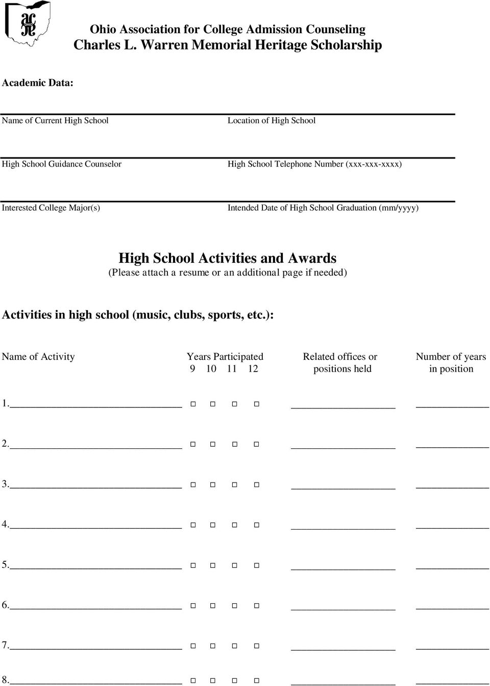 and Awards (Please attach a resume or an additional page if needed) Activities in high school (music, clubs, sports, etc.