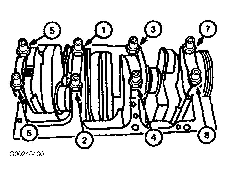 specifications torque specifications pdf 1996 Ford Explorer 4.0 Engine fig 2 crankshaft main bearing cap bolt tightening sequence 1 prodemand