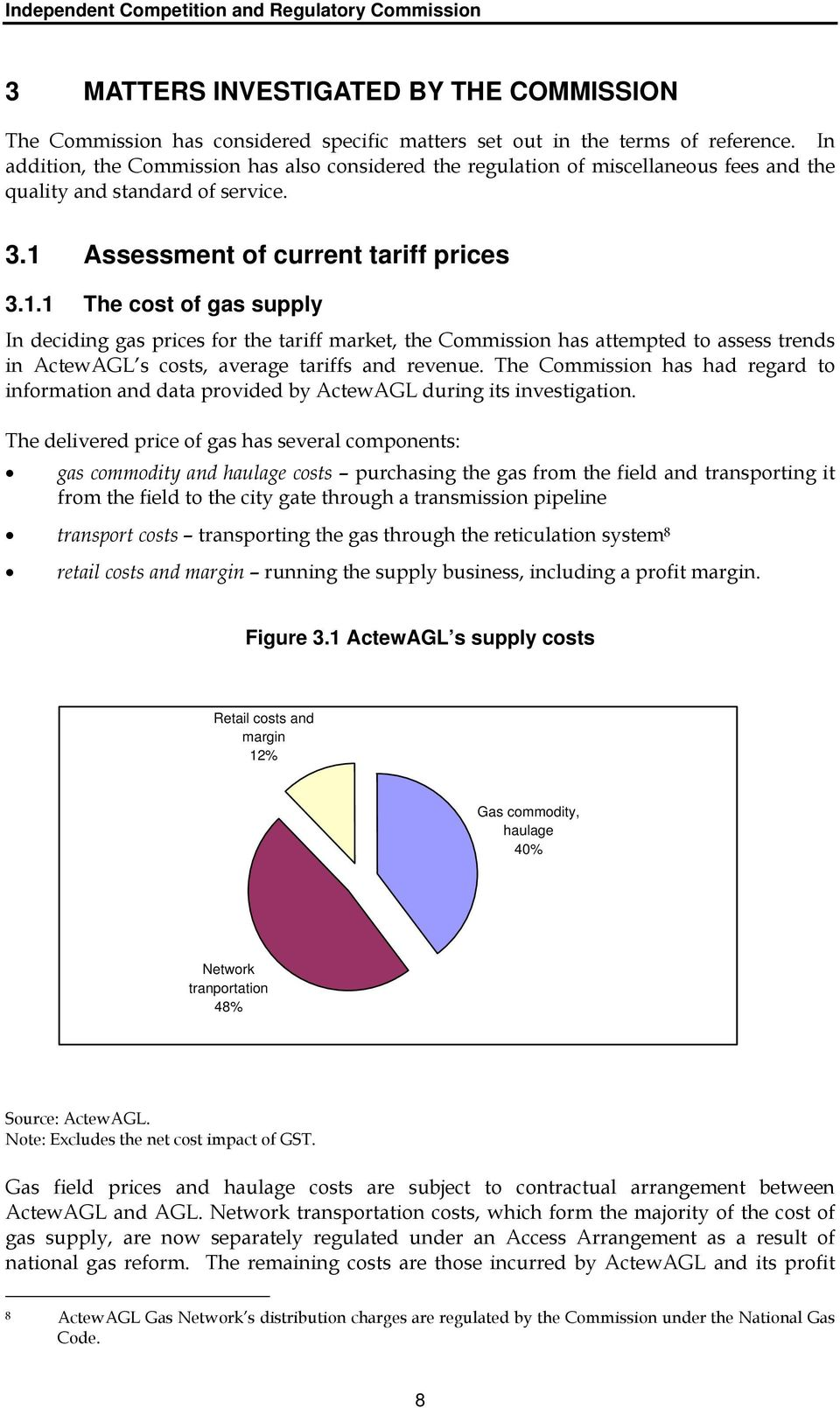 Assessment of current tariff prices 3.1.