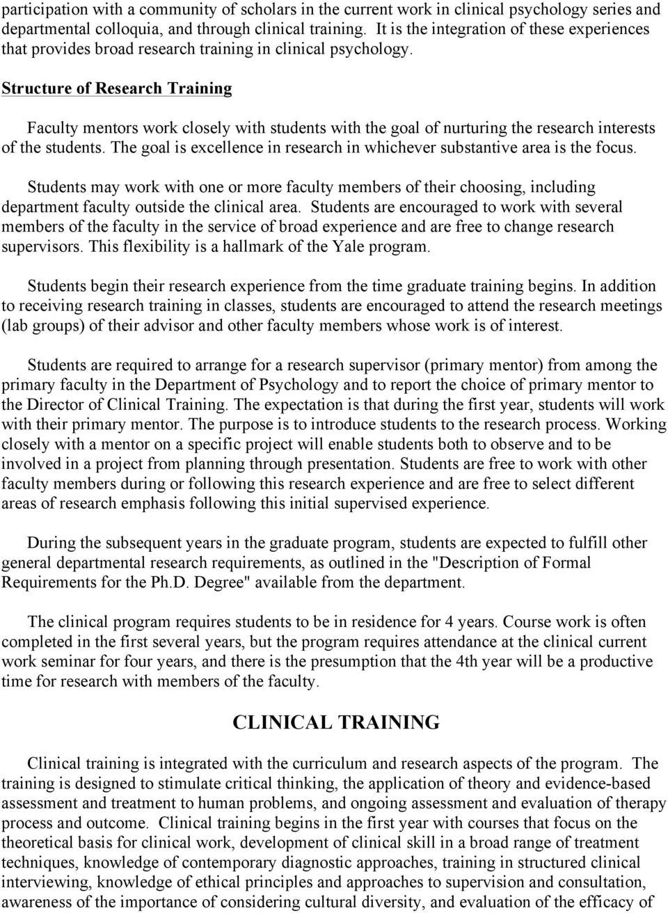 YALE CLINICAL PSYCHOLOGY: TRAINING MISSION AND PROGRAM