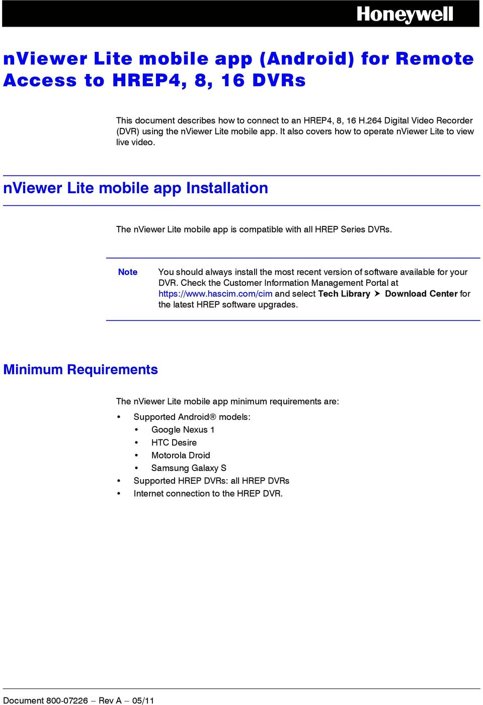 nviewer Lite mobile app (Android) for Remote Access to HREP4