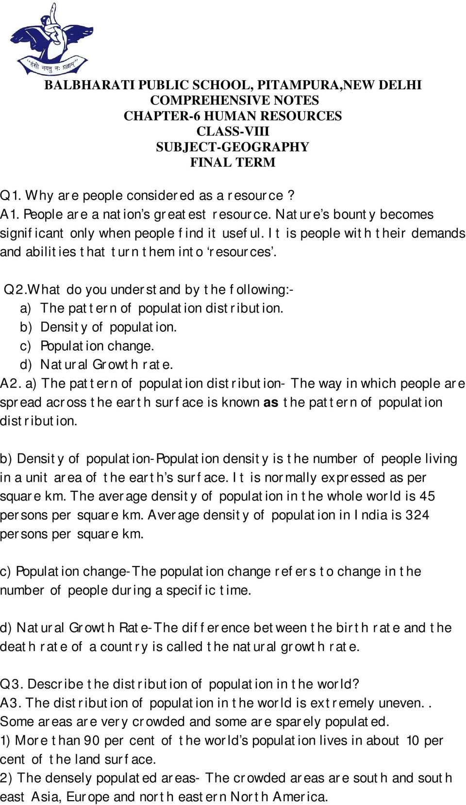 What Do You Understand By The Following A Pattern Of Population Distribution